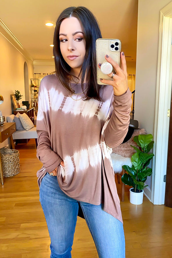 Taupe / S Brescia Bleached Relaxed Top - Madison and Mallory