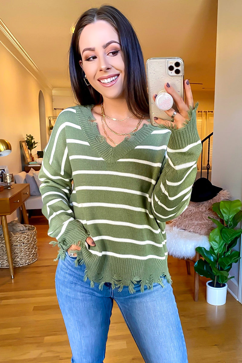 Olive / S Lamora Striped Distressed Sweater - Madison and Mallory