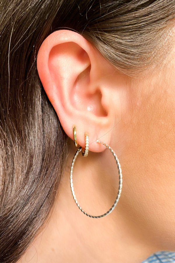 Silver Adonia Detail Hoop Earrings - Madison and Mallory