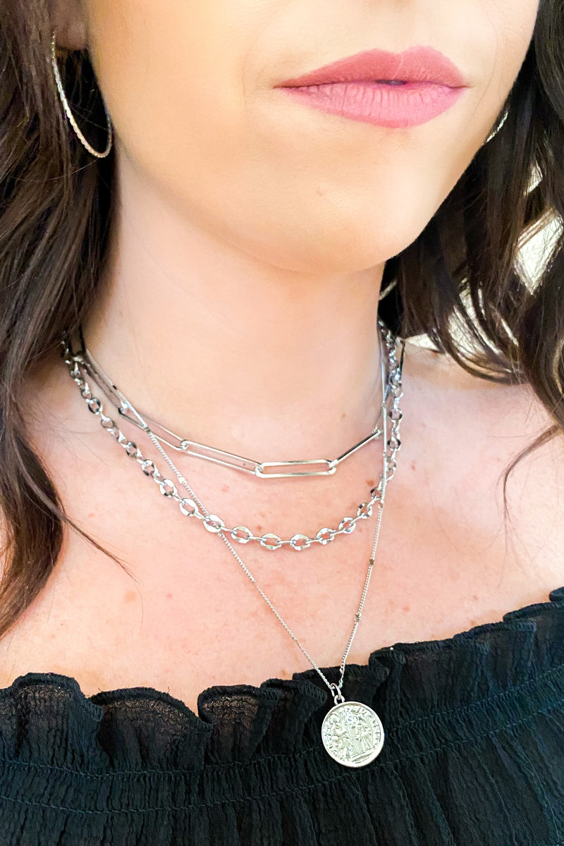 Silver Dime Piece Chain Layered Coin Necklace - Madison and Mallory