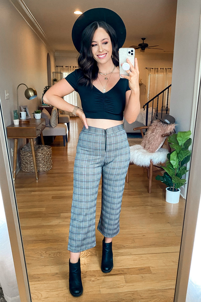 Check You Later Plaid Zipper Pants - Madison and Mallory