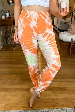 S / Orange California Craze Tie Dye Joggers - FINAL SALE - Madison and Mallory