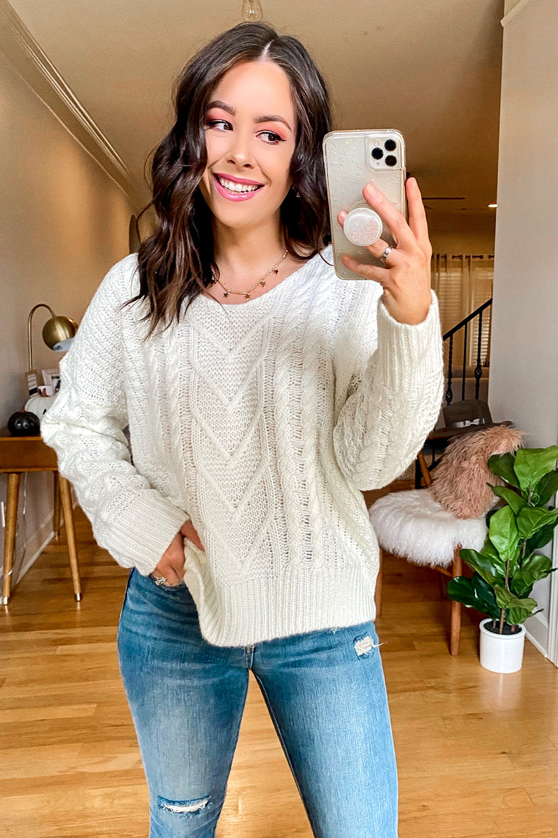 Astor Cable Knit V-Neck Sweater - Madison and Mallory