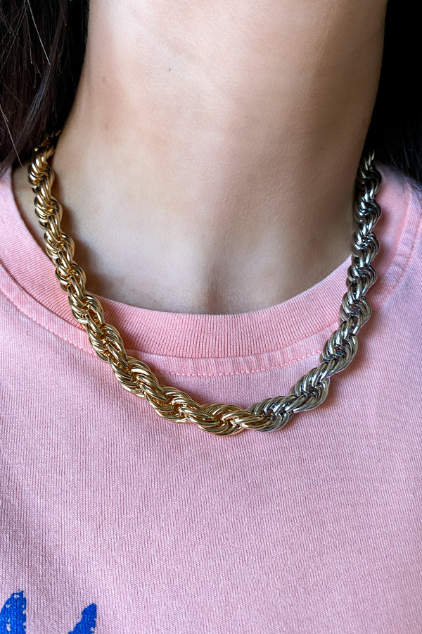 Twist the Rules Two Tone Necklace - Madison and Mallory