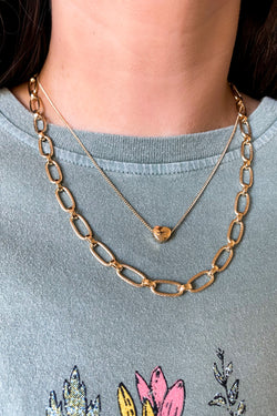 Love Me So Heart Charm Chain Layered Necklace - Madison and Mallory