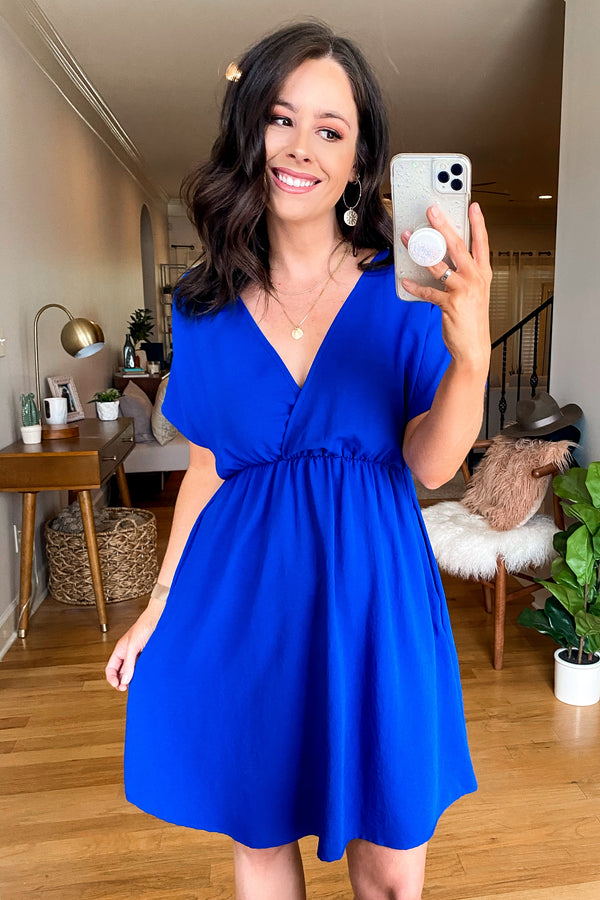 Royal / S Closer to Me V-Neck Dress - Royal | CURVE - Madison and Mallory