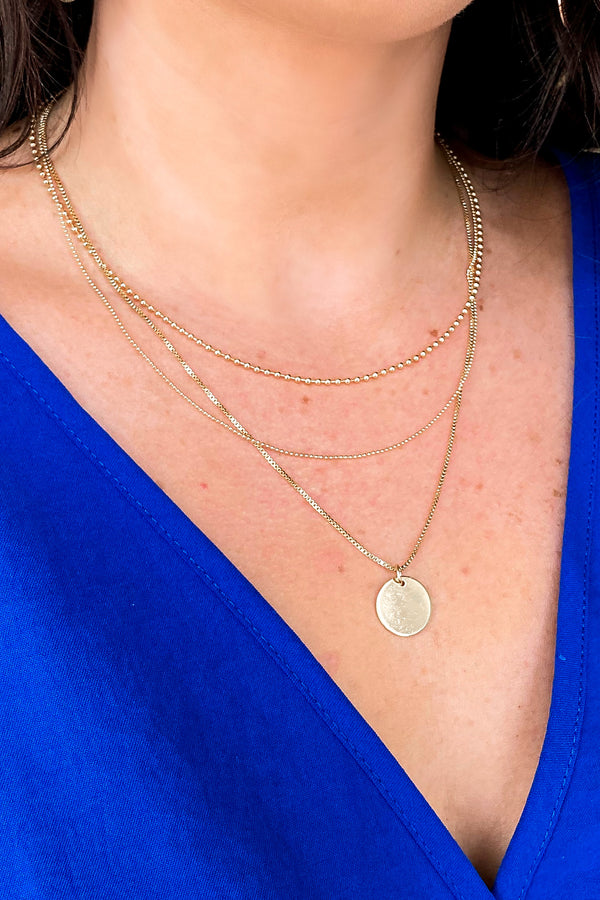 Gold Simplistic Coin Layered Necklace - Madison and Mallory