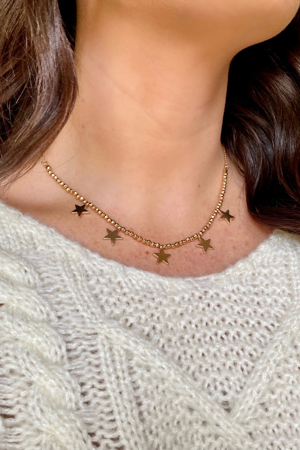 Gold Midnight Star Bead Charm Necklace - Madison and Mallory