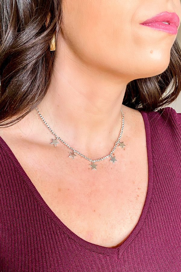 Silver Midnight Star Bead Charm Necklace - Madison and Mallory