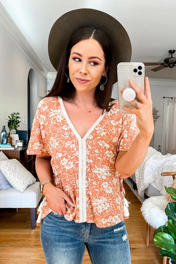 S / Dusty Peach Corella Floral Lace Trim Top - Madison and Mallory
