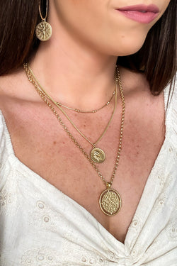Matte Gold Maris Hammered Coin Layered Necklace - Madison and Mallory