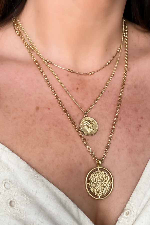 Maris Hammered Coin Layered Necklace - Madison and Mallory