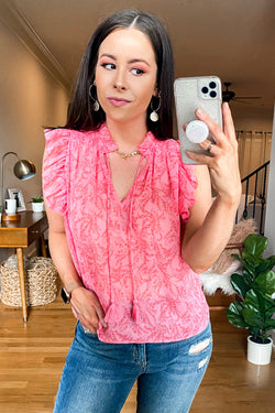 S / Pink Pink Flamingo Ruffle Top - FINAL SALE - Madison and Mallory