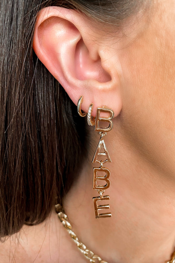 Gold Babe Drop Earrings - Madison and Mallory