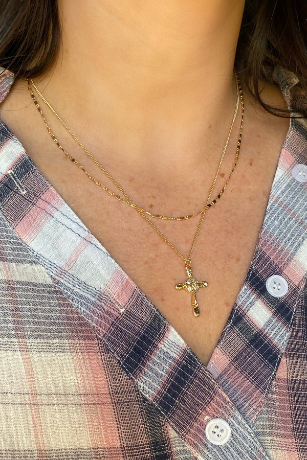 Dainty Discoveries Cross Layered Necklace - Madison and Mallory