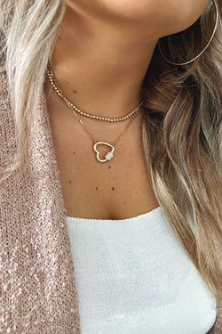Gold Linked by Love Heart Layered Necklace - Madison and Mallory