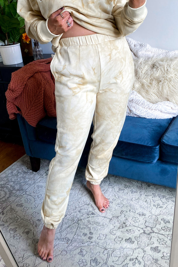 XS / Tan True Comfort Marble Dye Jogger Sweatpants - Madison and Mallory