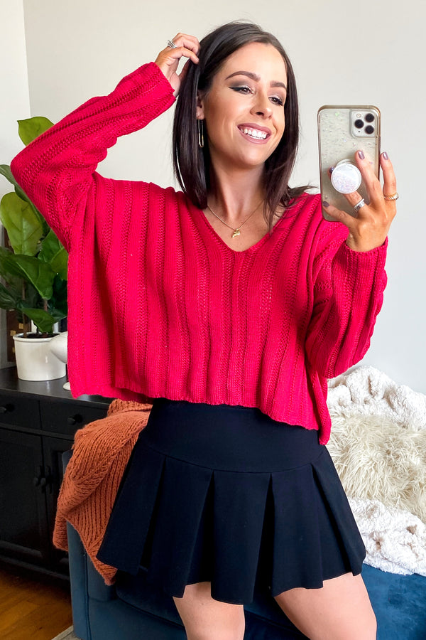 S / Magenta Tambra Crop Knit Sweater - Madison and Mallory