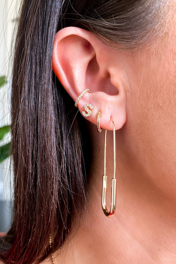 Gold Spark Conversation Safety Pin Hoop Earrings - Madison and Mallory