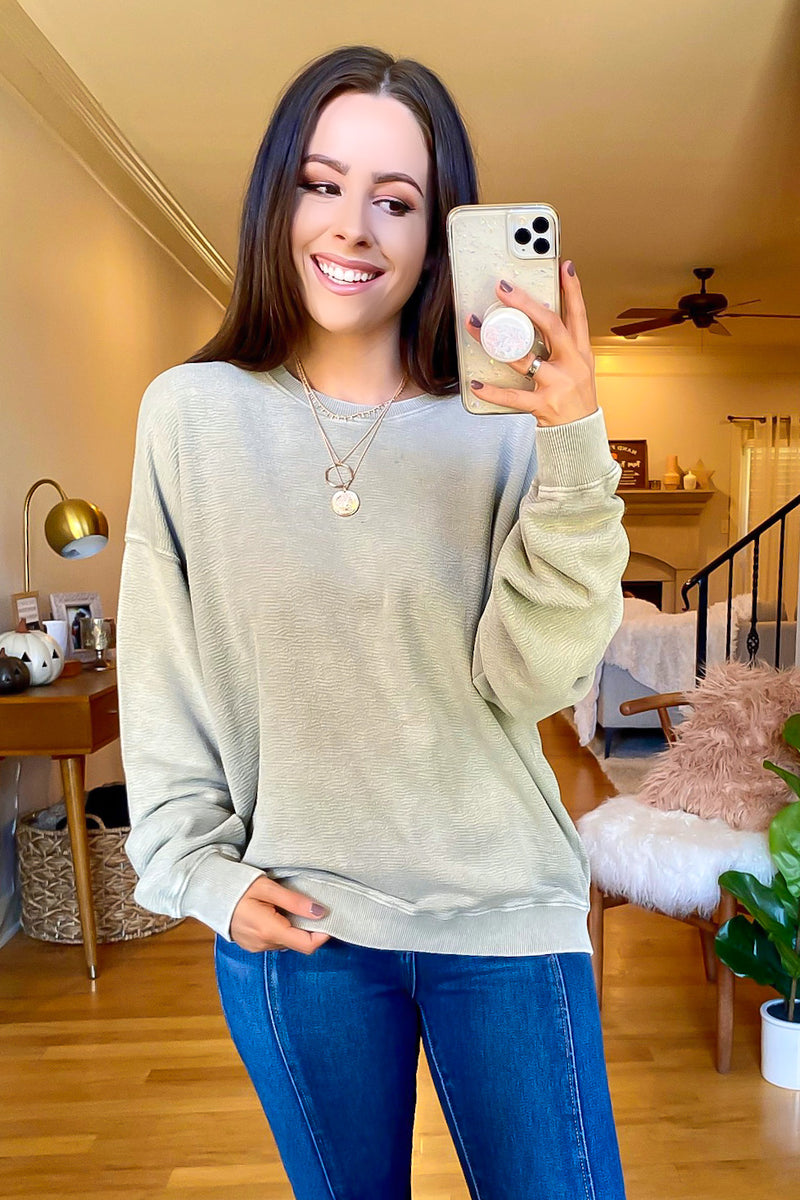 S / Taupe Ira Mineral Wash Relaxed Pullover - Madison and Mallory