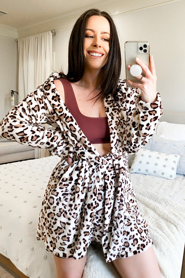 Cream/Brown / S Cozy Comforts Animal Print Robe | Doorbuster - Madison and Mallory
