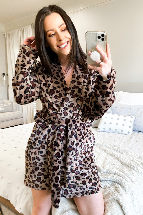 Tan/Brown / S Cozy Comforts Animal Print Robe | Doorbuster - Madison and Mallory