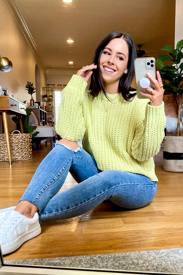 S / Yellow Magnolia Relaxed Fit Sweater - Madison and Mallory