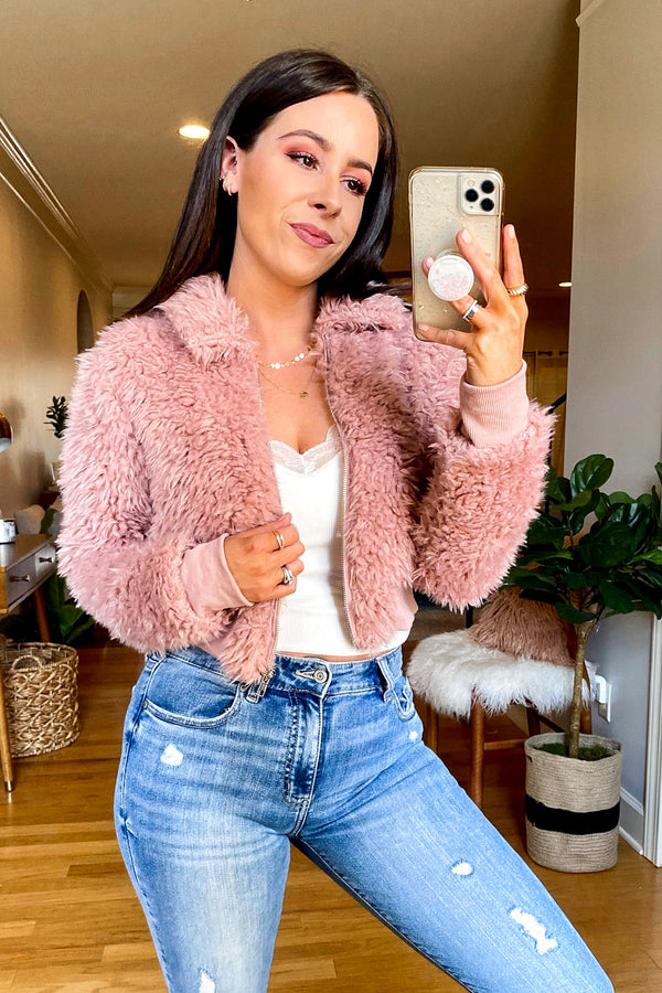 S / Mauve Merly Faux Fur Zip Up Jacket - Madison and Mallory