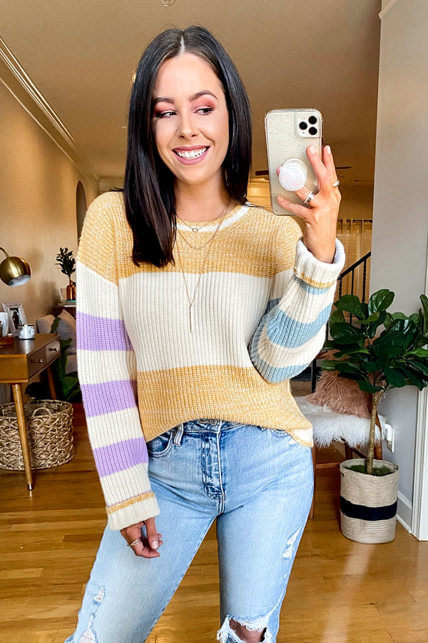 S / Mustard Pretty Thoughts Color Block Knit Sweater - Madison and Mallory