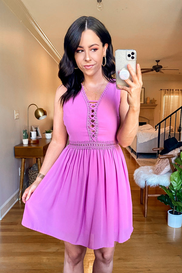 Orchid / S Love Swept Crochet Lace Up Dress - Madison and Mallory