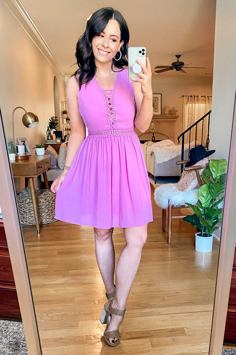 Love Swept Crochet Lace Up Dress - Madison and Mallory