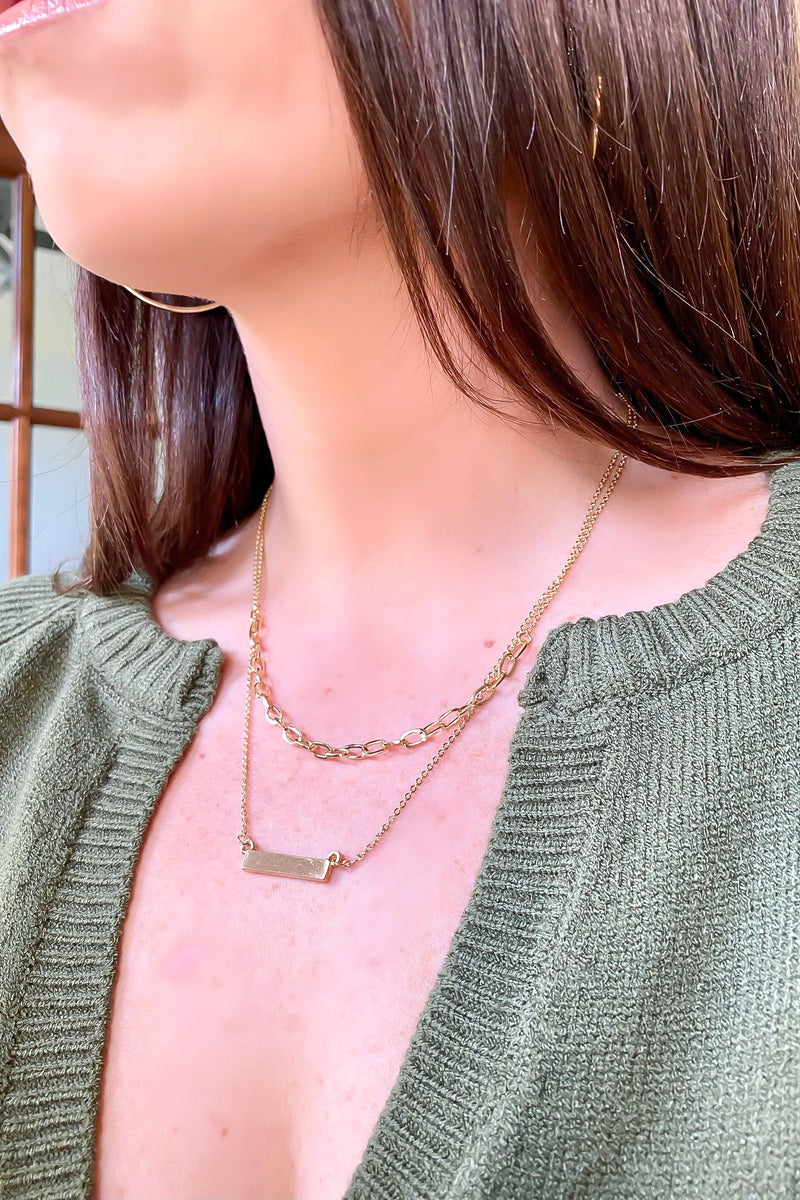 Gold Zulu Bar and Chain Layered Necklace - Madison and Mallory