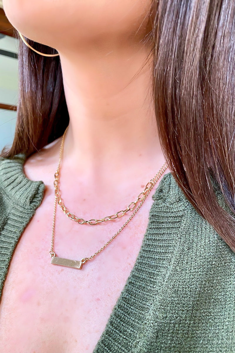 Zulu Bar and Chain Layered Necklace - Madison and Mallory