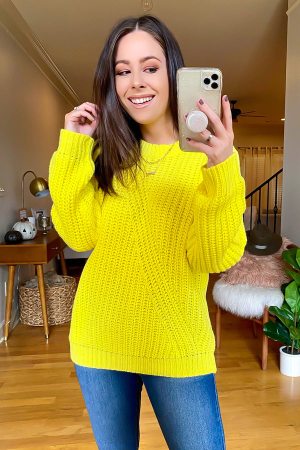 Yellow / S Baylis Long Sleeve Knit Sweater - Madison and Mallory