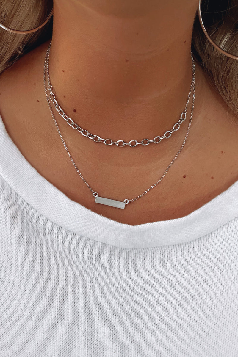 Silver Zulu Bar and Chain Layered Necklace - Madison and Mallory