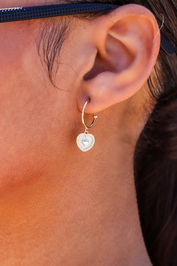 Gold In the Moment Heart Charm Hoop Earrings - Madison and Mallory