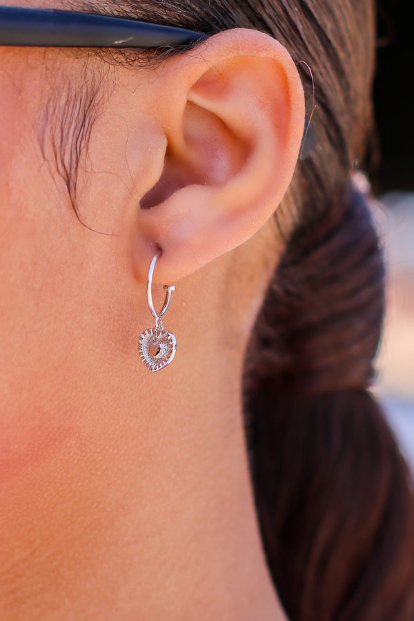 Silver In the Moment Heart Charm Hoop Earrings - Madison and Mallory