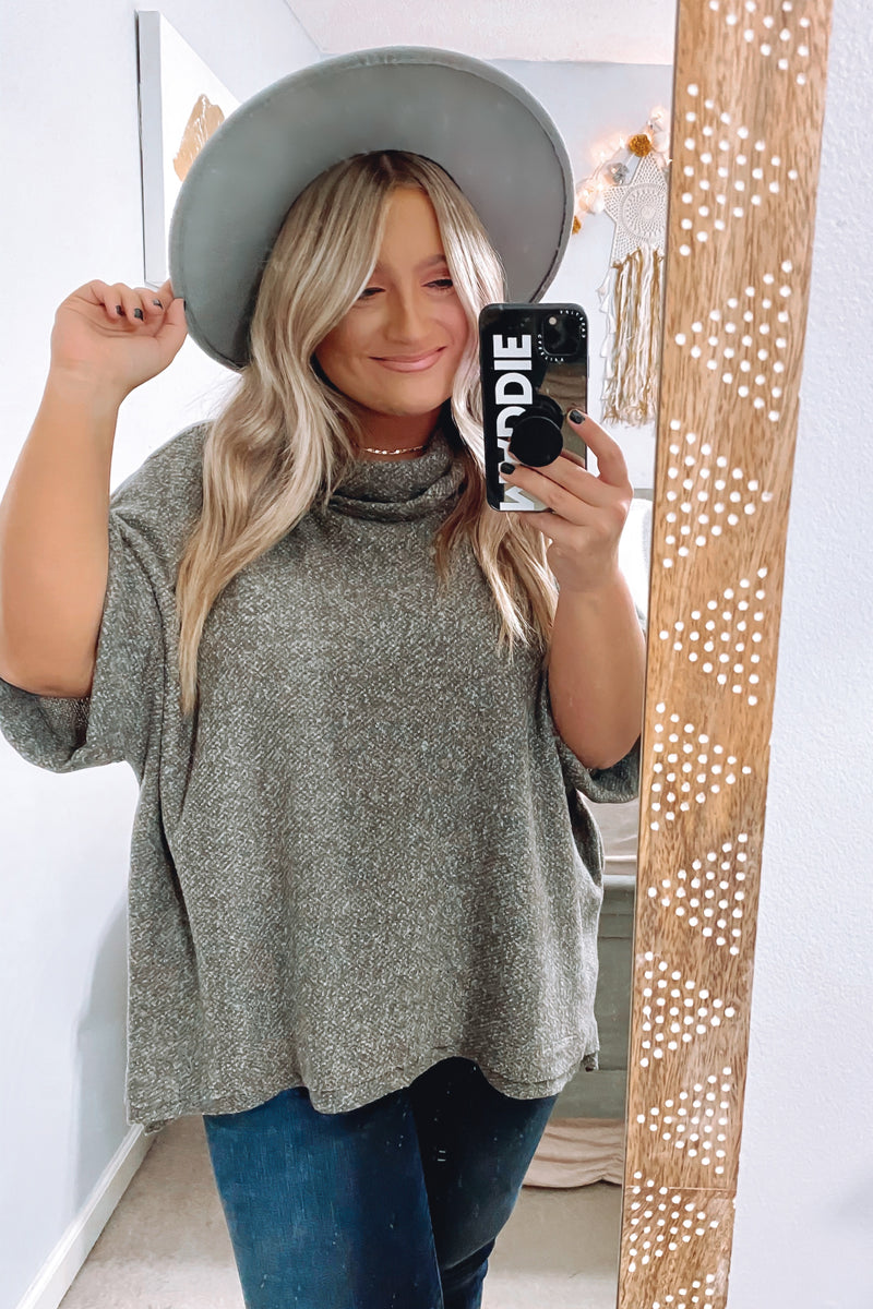 S / Charcoal Take a Moment Cowl Neck Top - Madison and Mallory