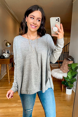 Gray / S Ryana Side Slit Long Sleeve Top - Madison and Mallory