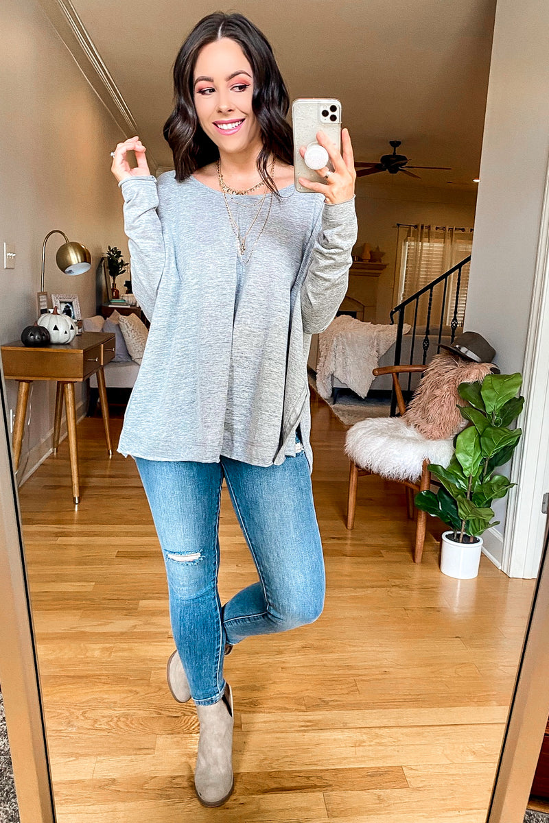 Ryana Side Slit Long Sleeve Top - Madison and Mallory
