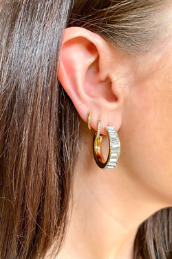 Gold Came to Stun Crystal Accent Hoop Earrings - Madison and Mallory
