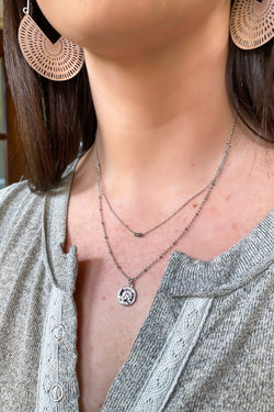 Silver Fair Play Coin Layered Necklace - Madison and Mallory