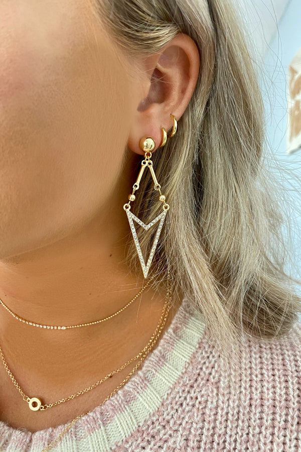 Gold Dreaming in Daylight Geo Pave Earrings - Madison and Mallory