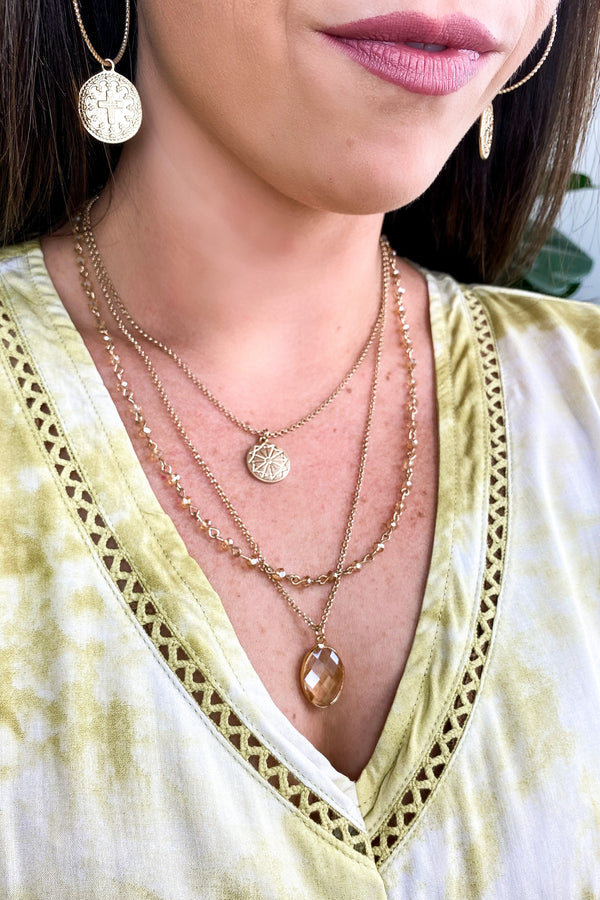 Clear River Street Beaded Layered Necklace - Clear - Madison and Mallory