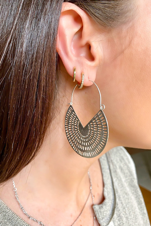 Silver Inaya Cutout Detail Hoop Earrings - Madison and Mallory