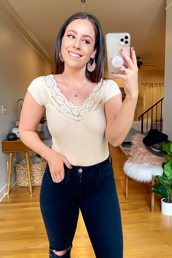 S / Champagne Shirlyn Lace Trim Ribbed Top - Madison and Mallory