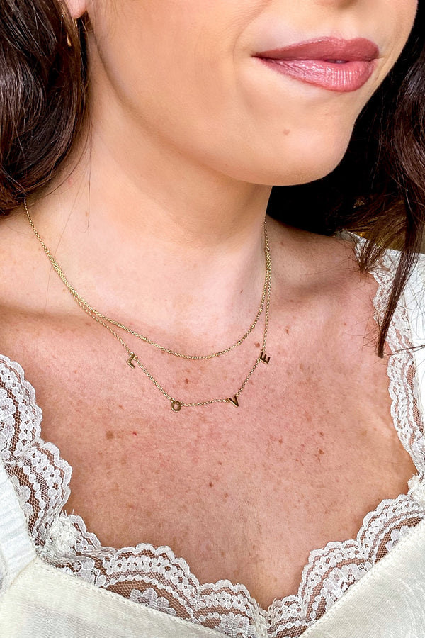 Gold Layered in LOVE Necklace - Madison and Mallory
