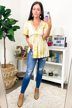 S / Mustard Sunny Honey Tie Dye Babydoll Top - Madison and Mallory