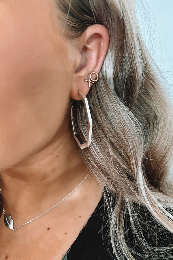 Silver From Every Angle Geometric Hoop Earrings - Madison and Mallory