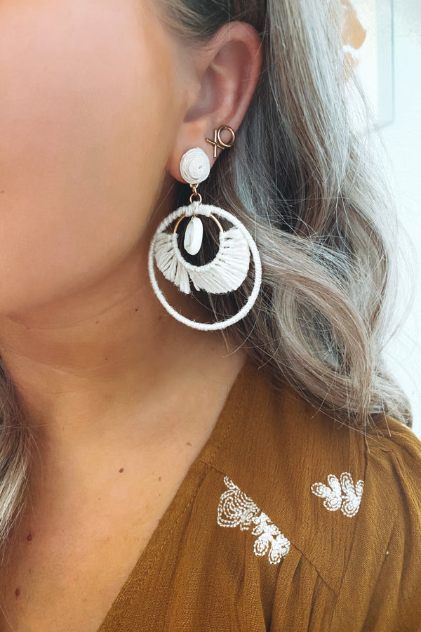 Cream Staycation Shell Detail Earrings - Madison and Mallory
